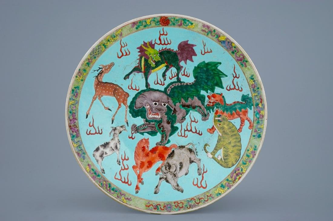 A Chinese turquoise ground famille rose charger with