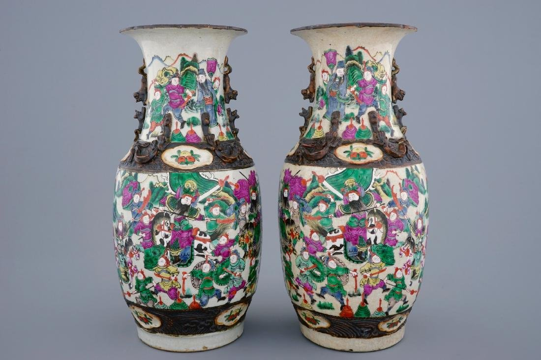 A pair of Chinese famille rose Nanking crackle glaze