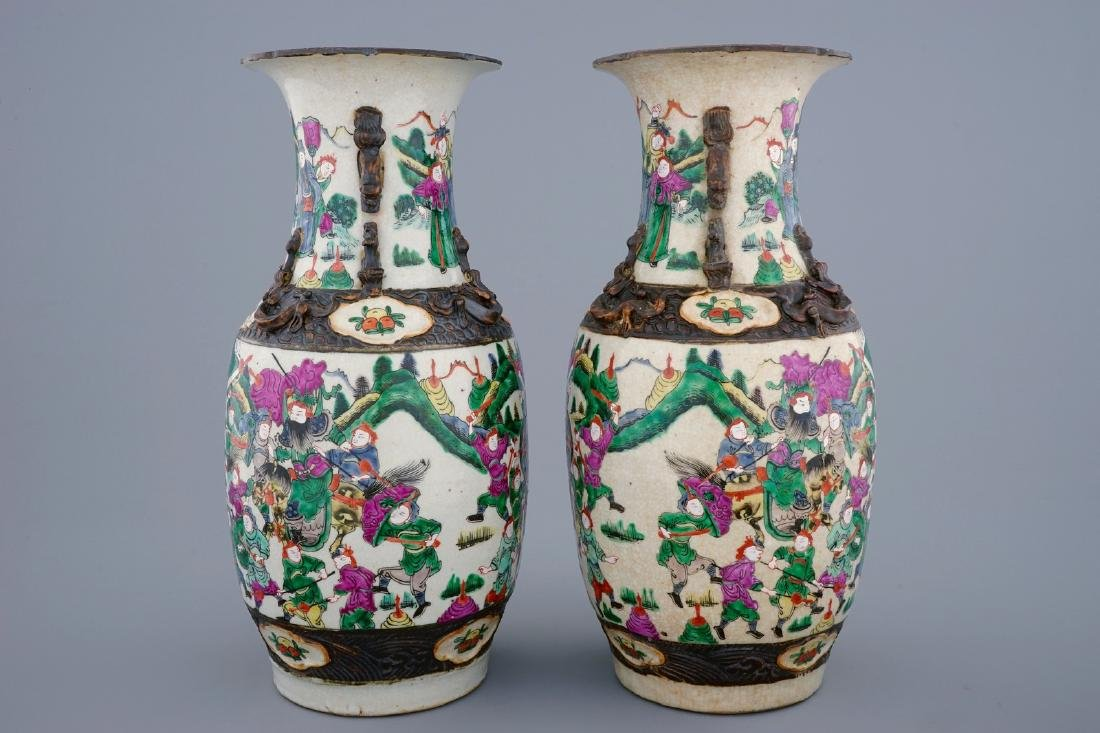 A pair of Chinese famille rose Nanking crackle glaze - 2