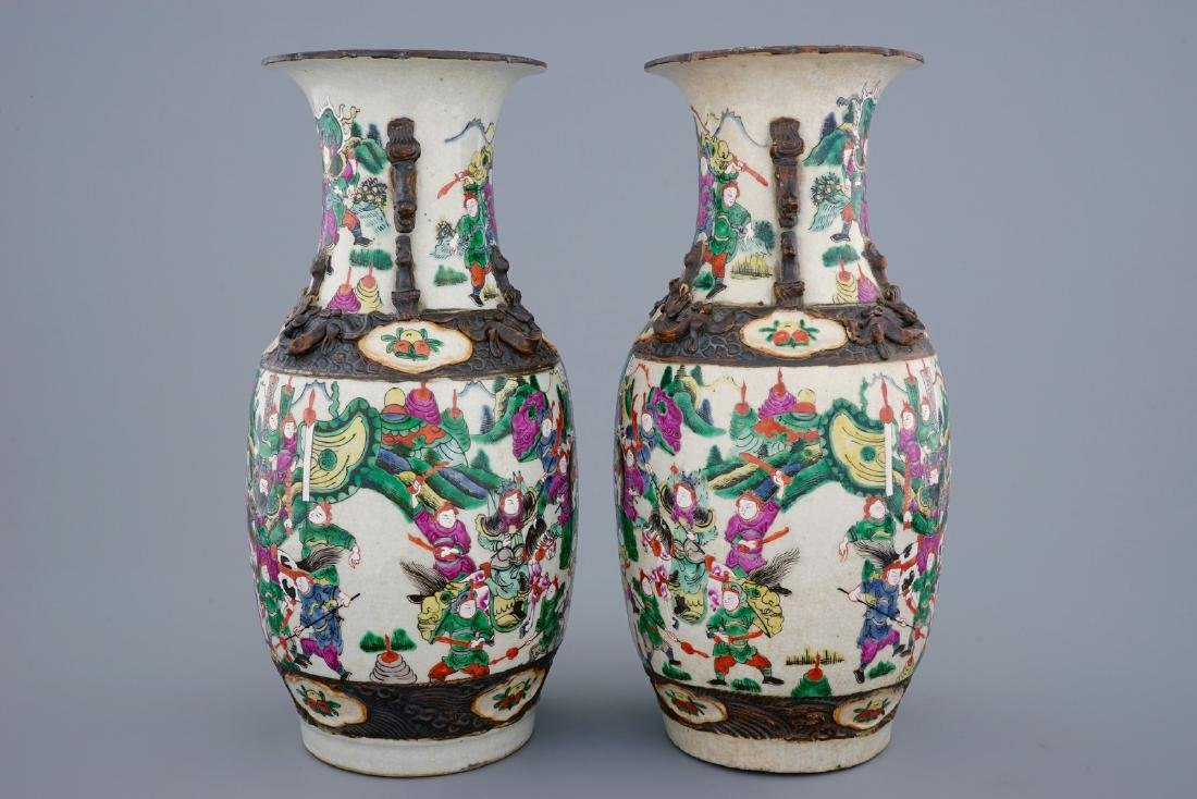 A pair of Chinese famille rose Nanking crackle glaze - 4