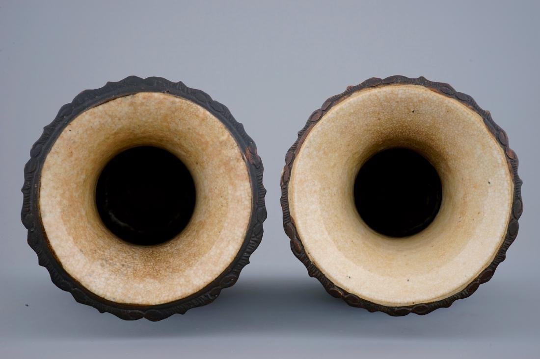 A pair of Chinese famille rose Nanking crackle glaze - 5