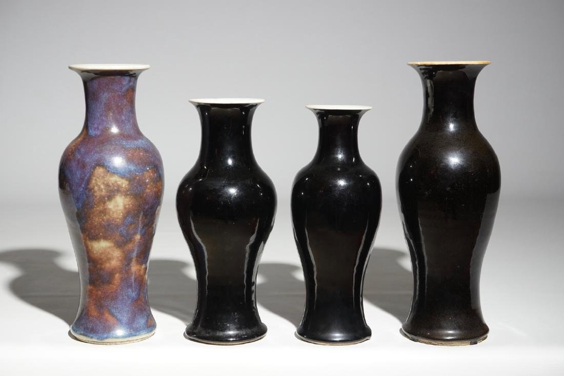 A lot of 3 Chinese mirror black and a flambe-glazed