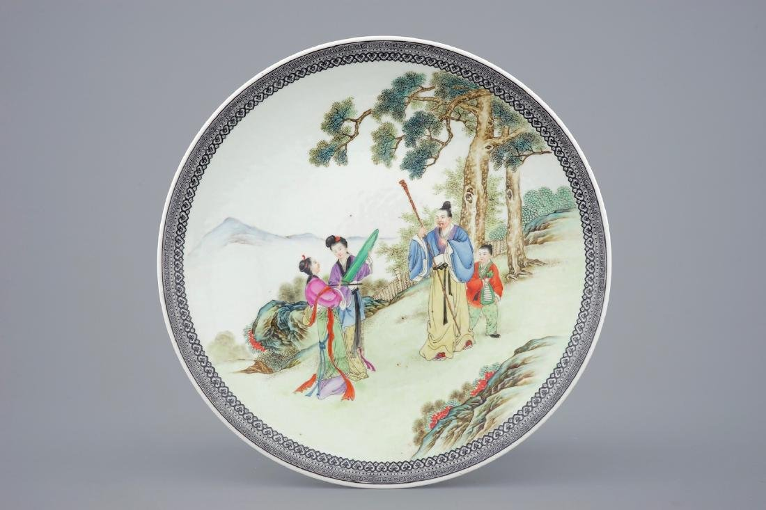 A fine Chinese Republic famille rose dish, 20th C.