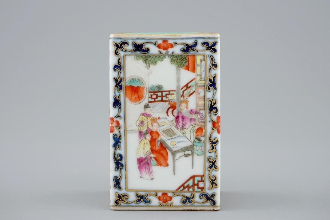 A Chinese famille rose rectangular brush washer,