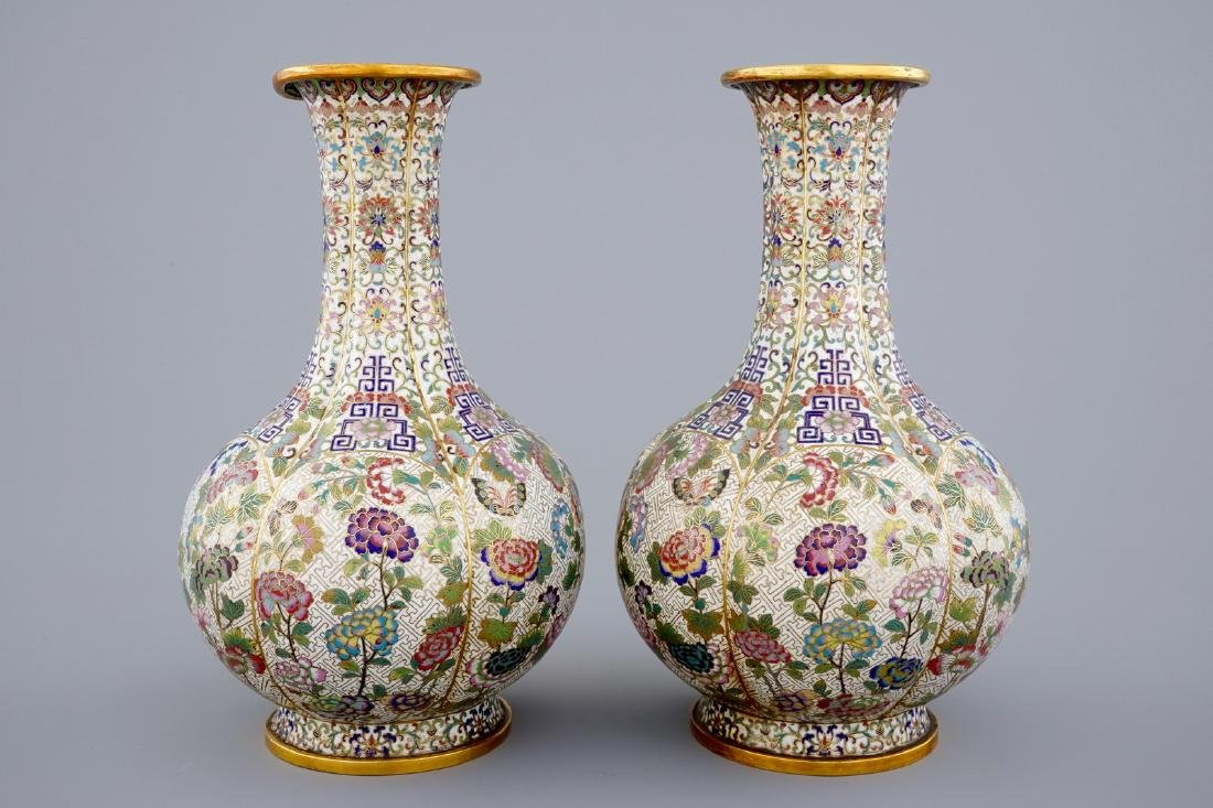 A pair of Chinese cloisonnŽ bottle-shaped vases, 19th