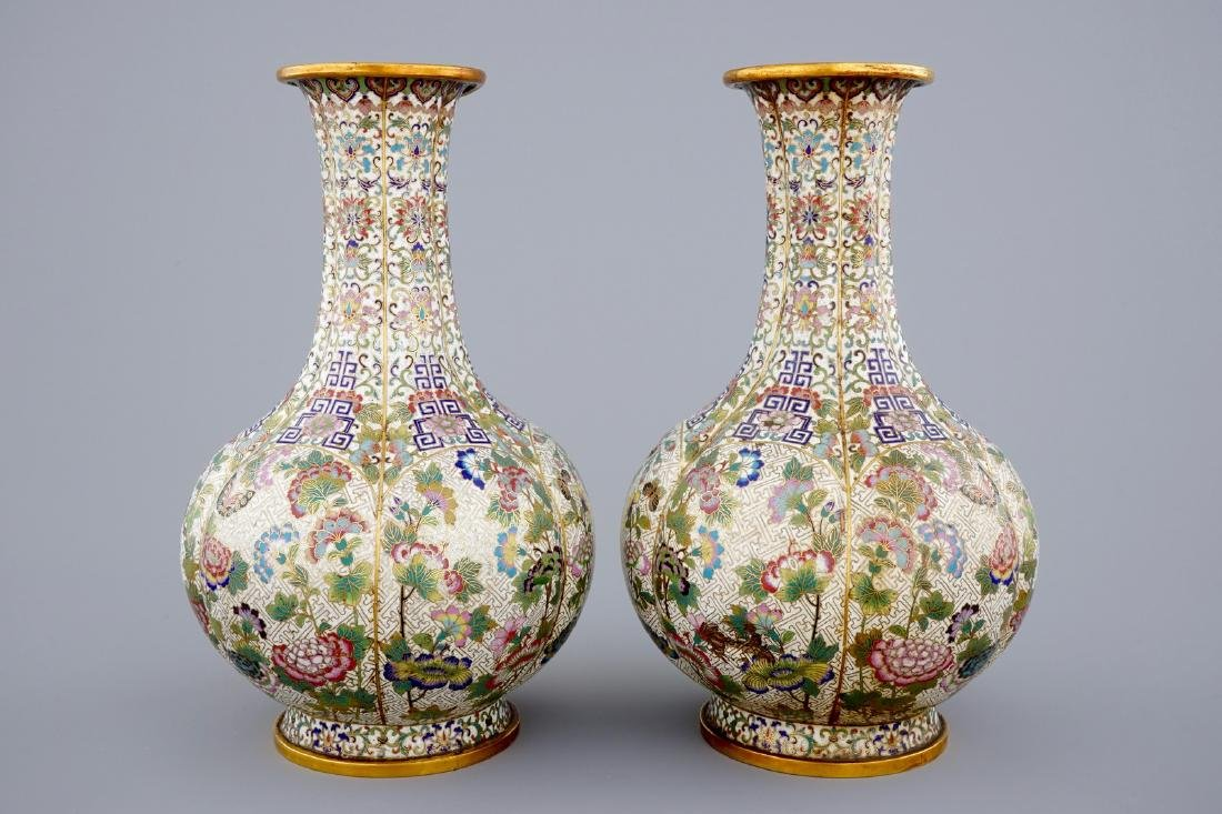 A pair of Chinese cloisonnŽ bottle-shaped vases, 19th - 2