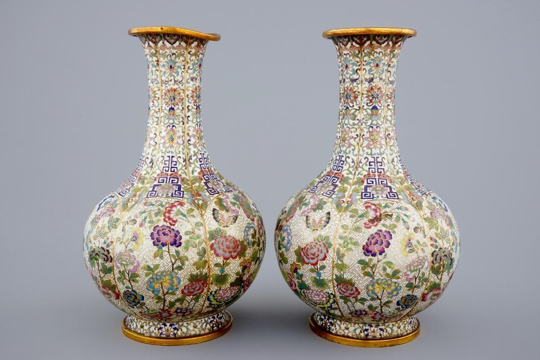 A pair of Chinese cloisonnŽ bottle-shaped vases, 19th - 3