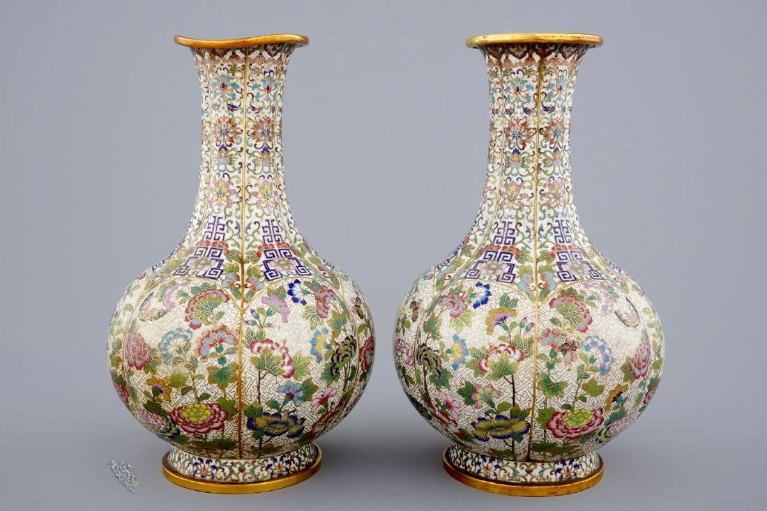 A pair of Chinese cloisonnŽ bottle-shaped vases, 19th - 4