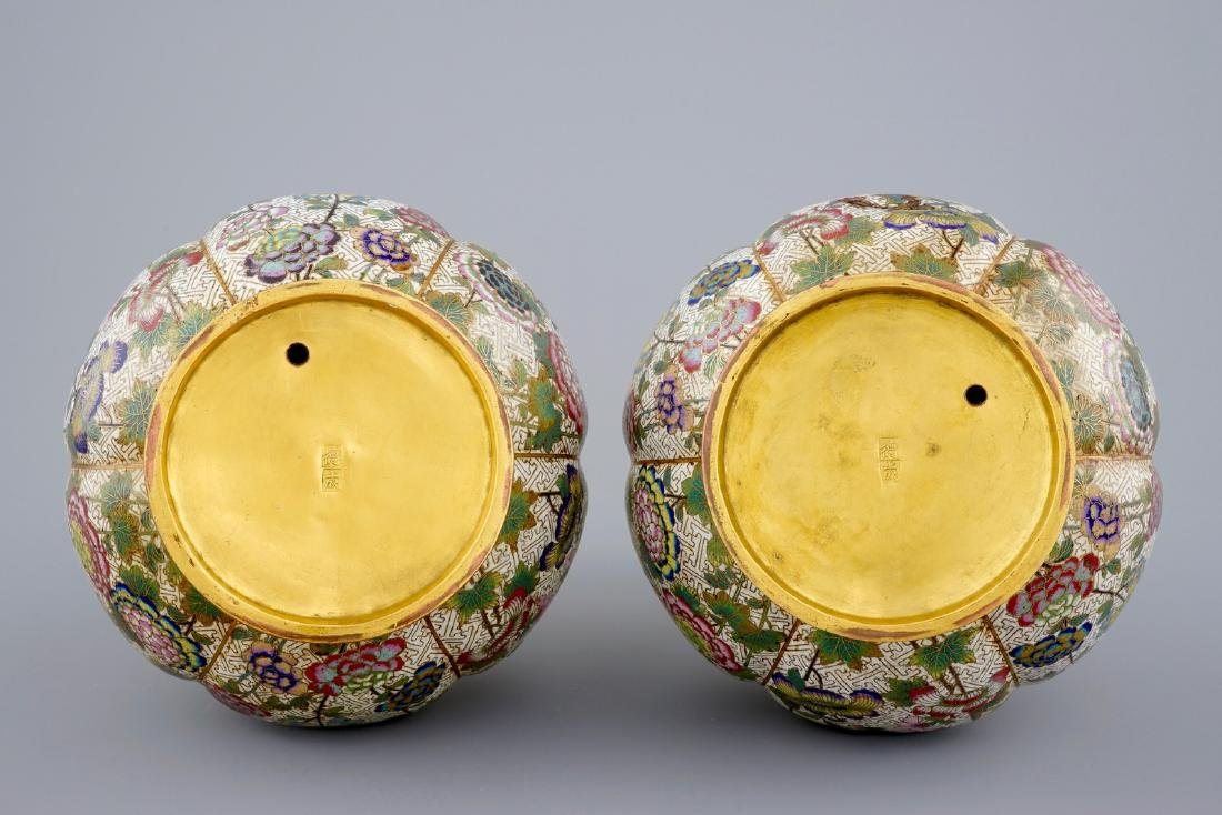 A pair of Chinese cloisonnŽ bottle-shaped vases, 19th - 5