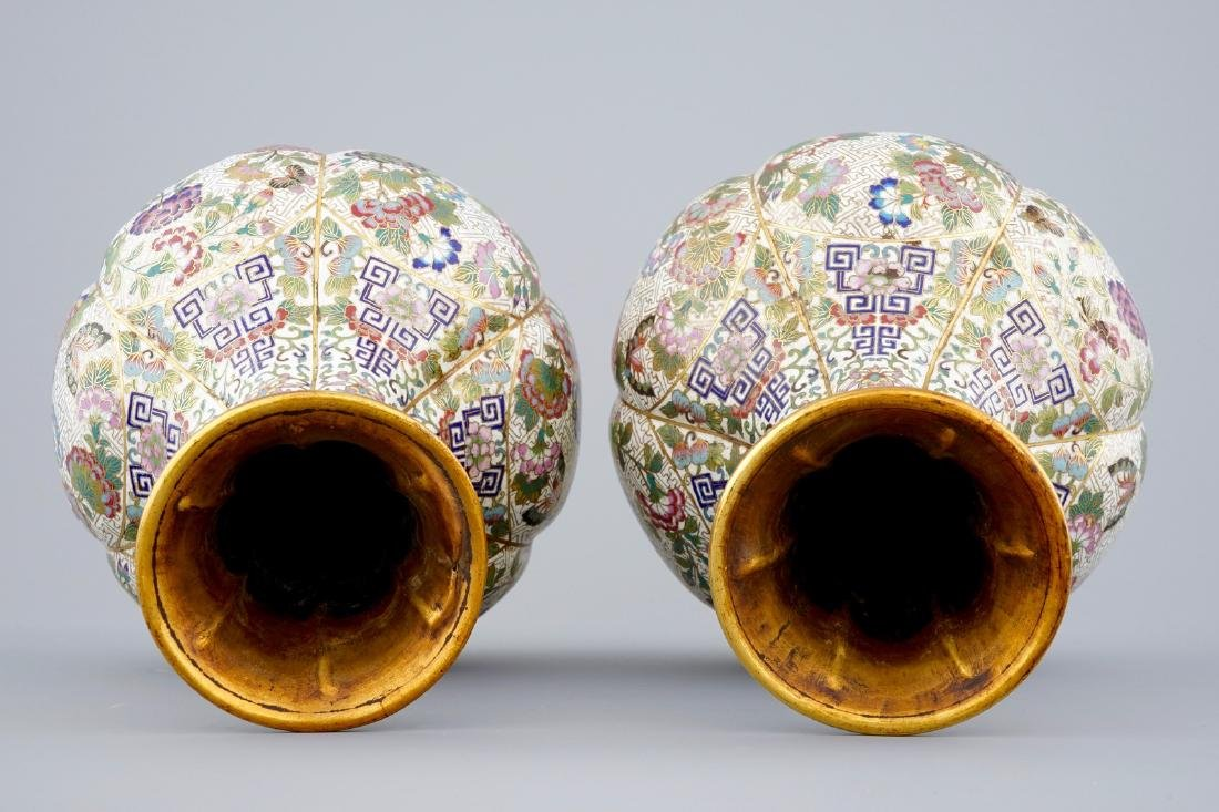 A pair of Chinese cloisonnŽ bottle-shaped vases, 19th - 6