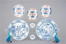 Two large blue and white dishes 3 Imari plates two