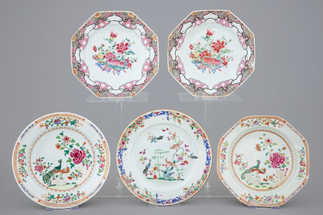 A collection of five Chinese famille rose plates, 18th