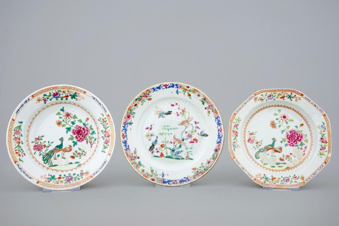 A collection of five Chinese famille rose plates, 18th - 2