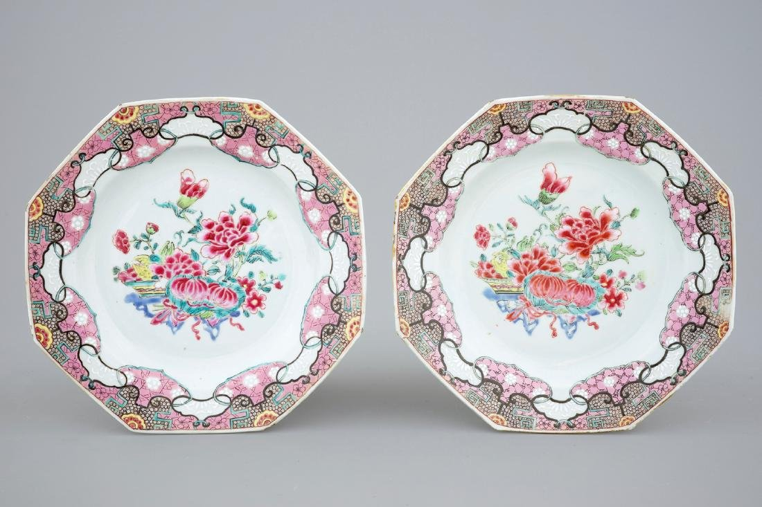 A collection of five Chinese famille rose plates, 18th - 4