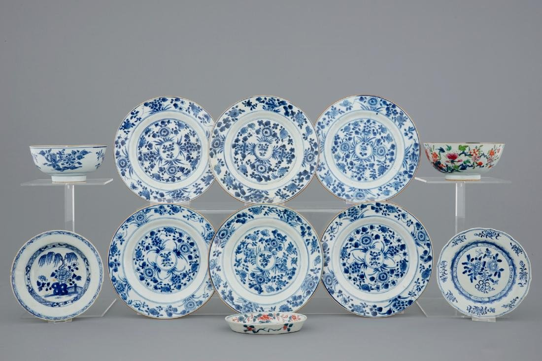 A collection of Chinese blue and white, famille rose