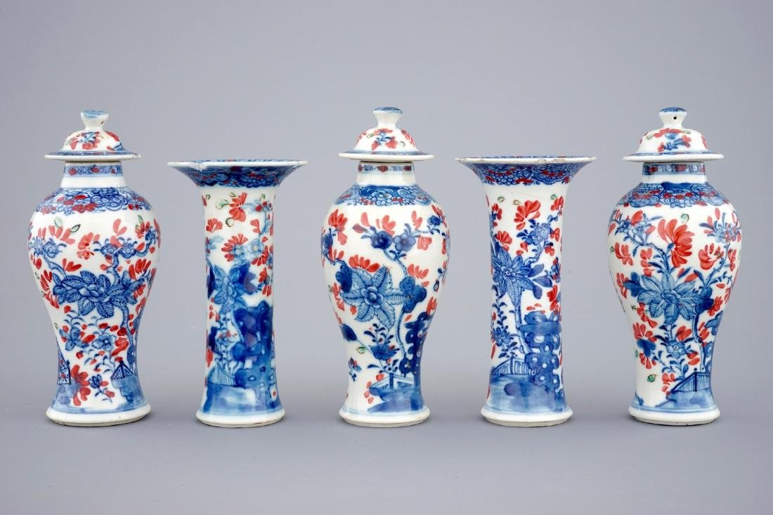 A small Chinese partly clobbered blue and white five