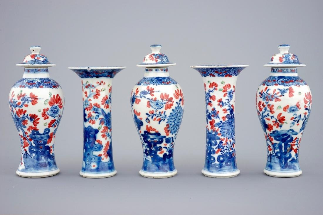 A small Chinese partly clobbered blue and white five - 2