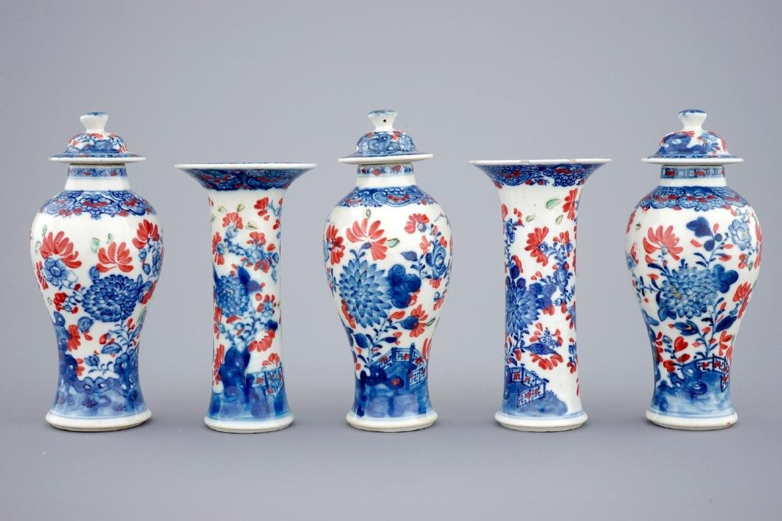 A small Chinese partly clobbered blue and white five - 3