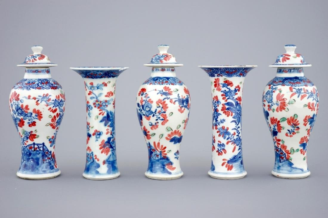 A small Chinese partly clobbered blue and white five - 4