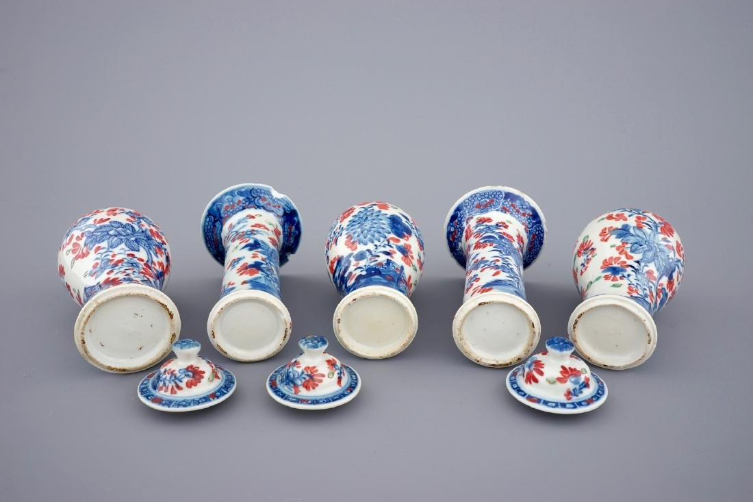 A small Chinese partly clobbered blue and white five - 6