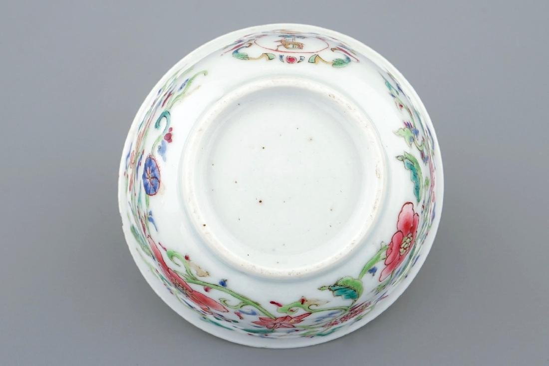 A Chinese famille rose armorial cup and saucer for the - 5