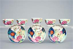 A set of 5 Chinese famille rose cups and 3 saucers with