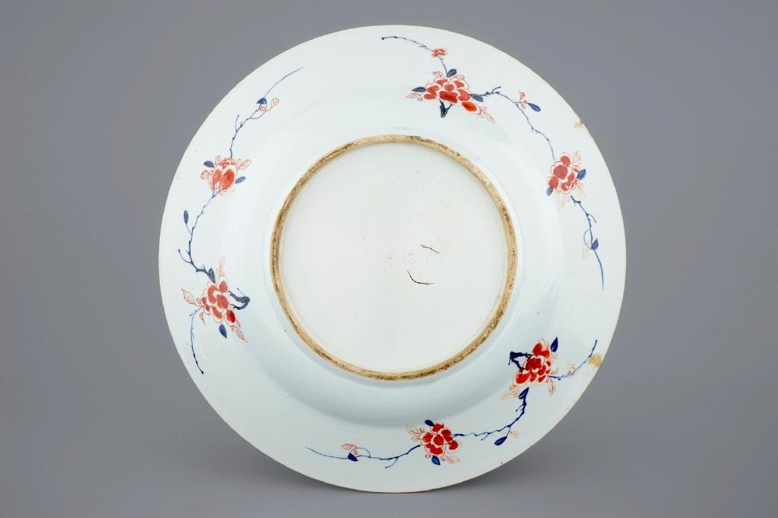 A very large Chinese verte-Imari dish with General - 2