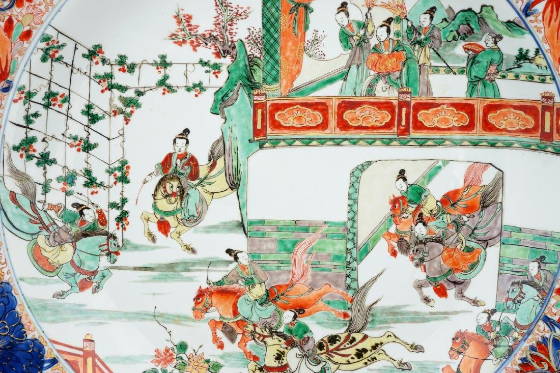A very large Chinese verte-Imari dish with General - 3