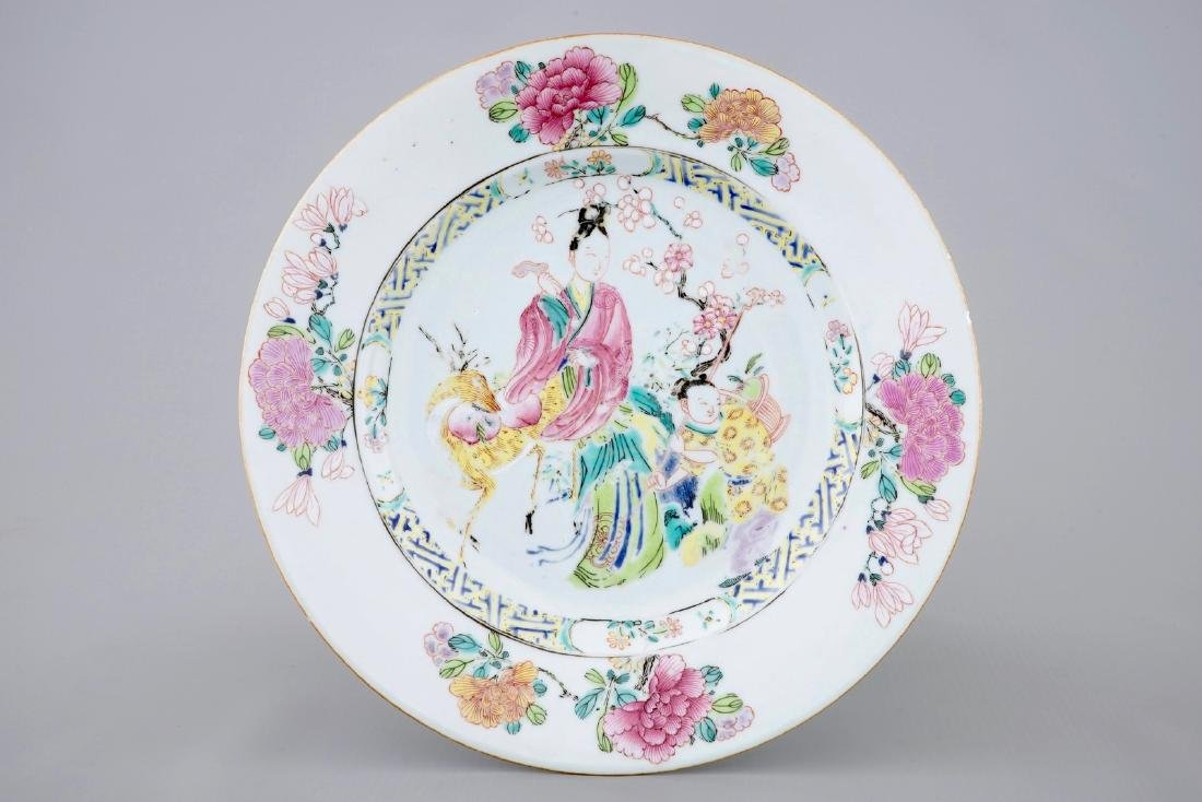 A Chinese famille rose plate with a lady on a deer,
