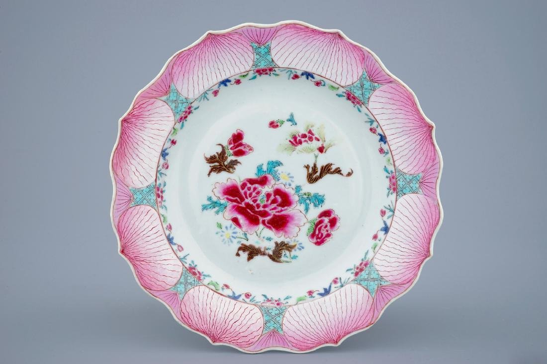 A fine Chinese famille rose lotus design plate,