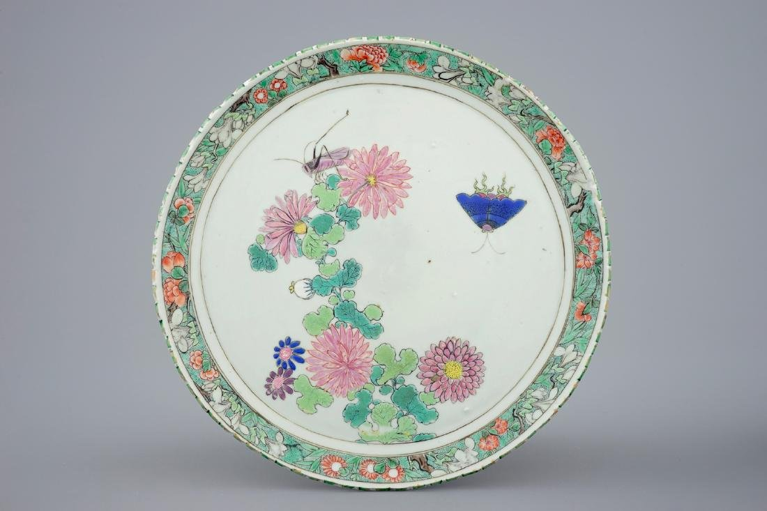An unusual Chinese famille rose/verte plate with a