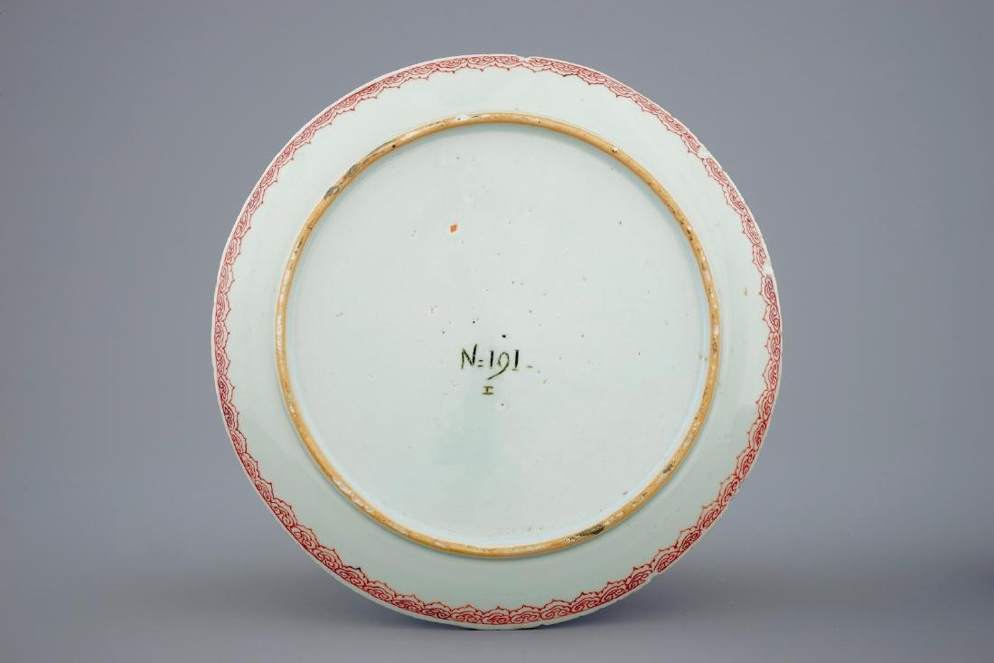 An unusual Chinese famille rose/verte plate with a - 2