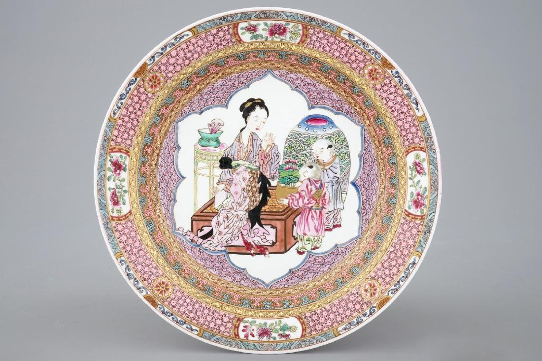 A fine Chinese Yongzheng style ruby back plate with a