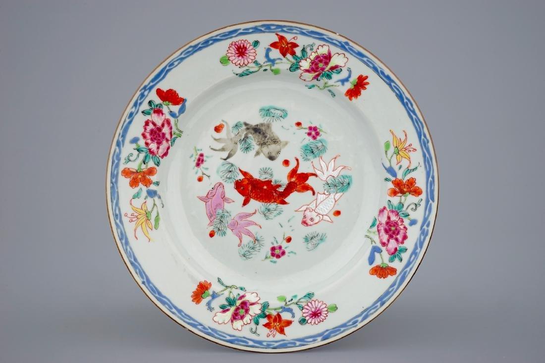 A Chinese famille rose carps plate, Yongzheng/Qianlong