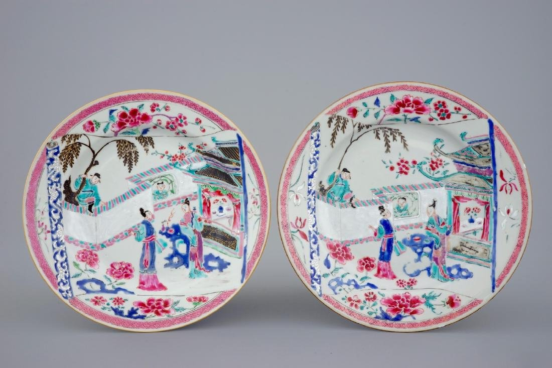 "A pair of Chinese famille rose ""Romance of the Western"