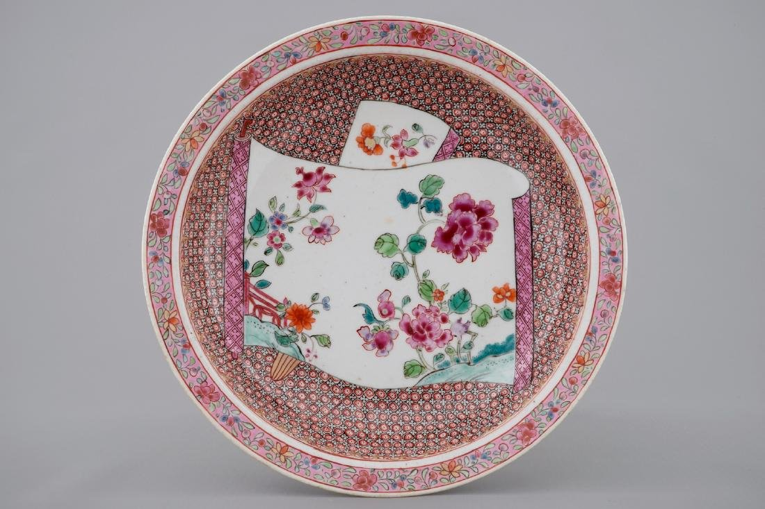 A Chinese famille rose plate with floral design,