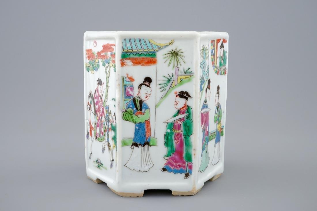 A Chinese hexagonal famille rose brush pot, Yongzheng, - 5