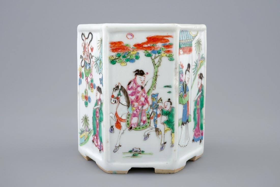 A Chinese hexagonal famille rose brush pot, Yongzheng, - 6