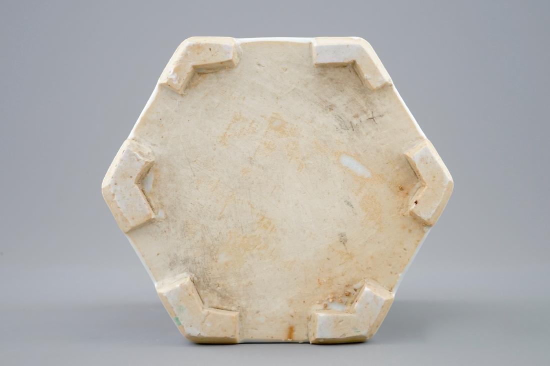 A Chinese hexagonal famille rose brush pot, Yongzheng, - 9