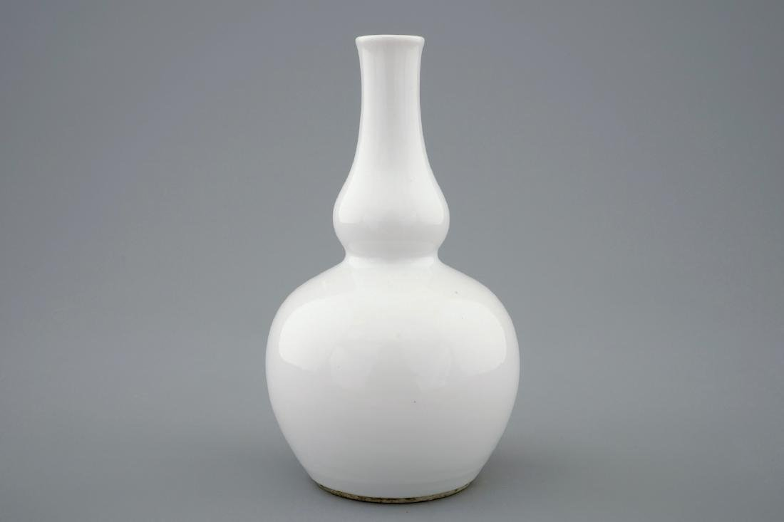 A Chinese blanc de Chine double gourd vase, - 4