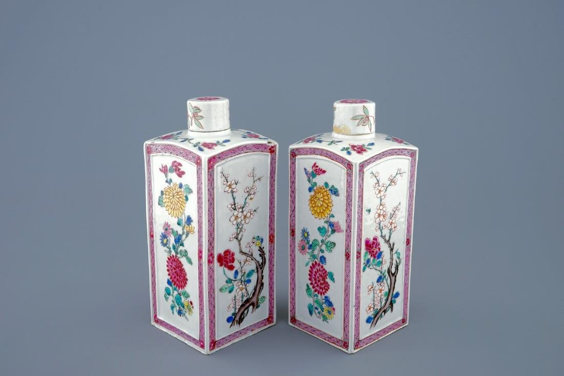 A pair of Chinese famille rose tea caddies and covers,