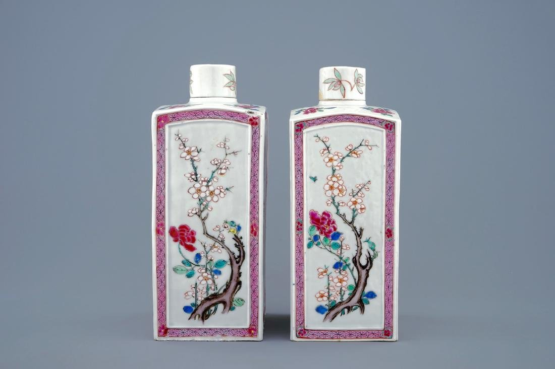 A pair of Chinese famille rose tea caddies and covers, - 2