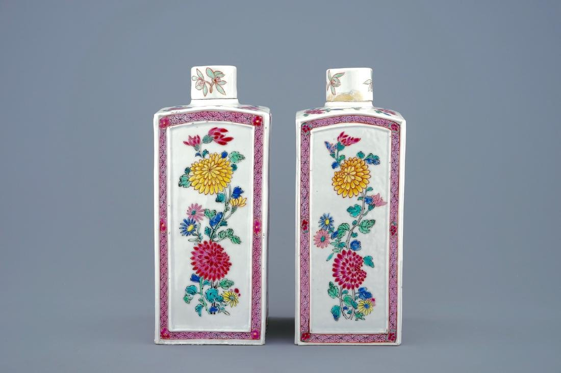 A pair of Chinese famille rose tea caddies and covers, - 3