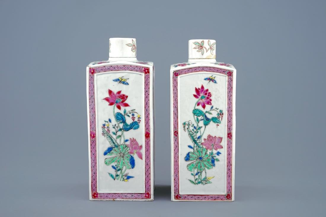 A pair of Chinese famille rose tea caddies and covers, - 4