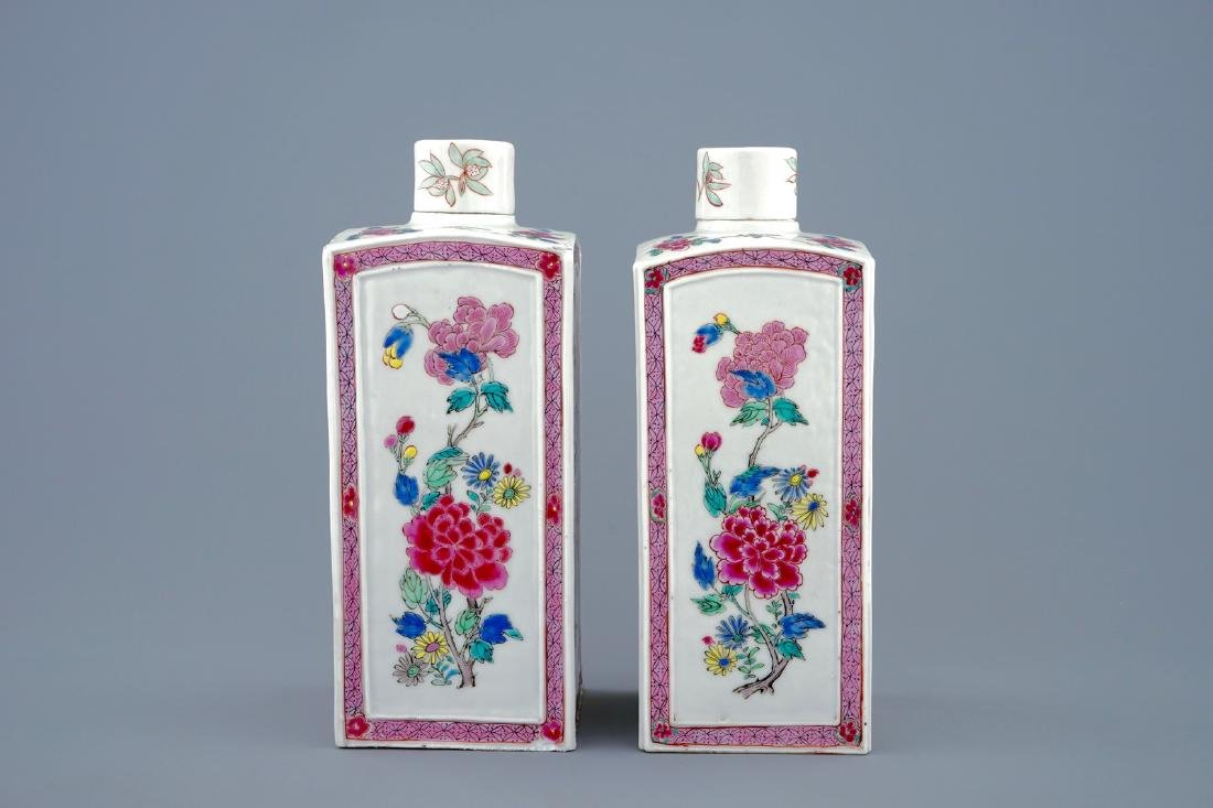 A pair of Chinese famille rose tea caddies and covers, - 5