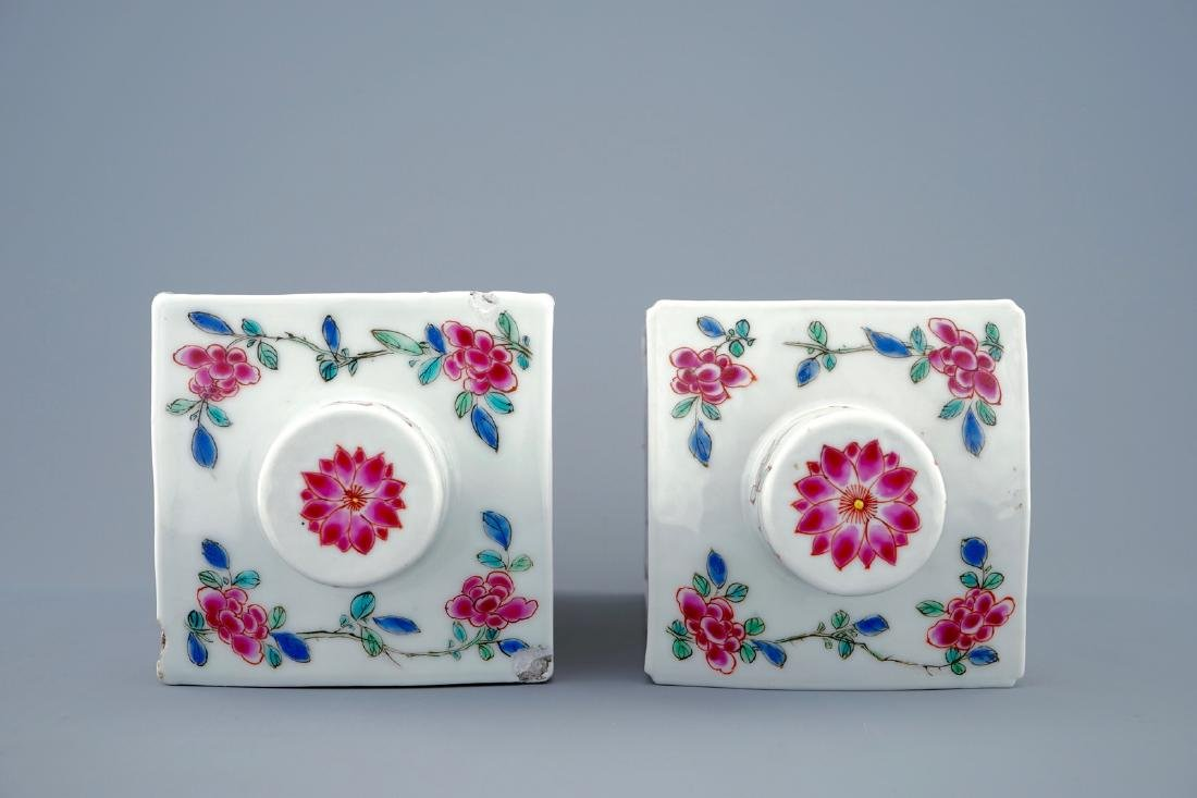 A pair of Chinese famille rose tea caddies and covers, - 6