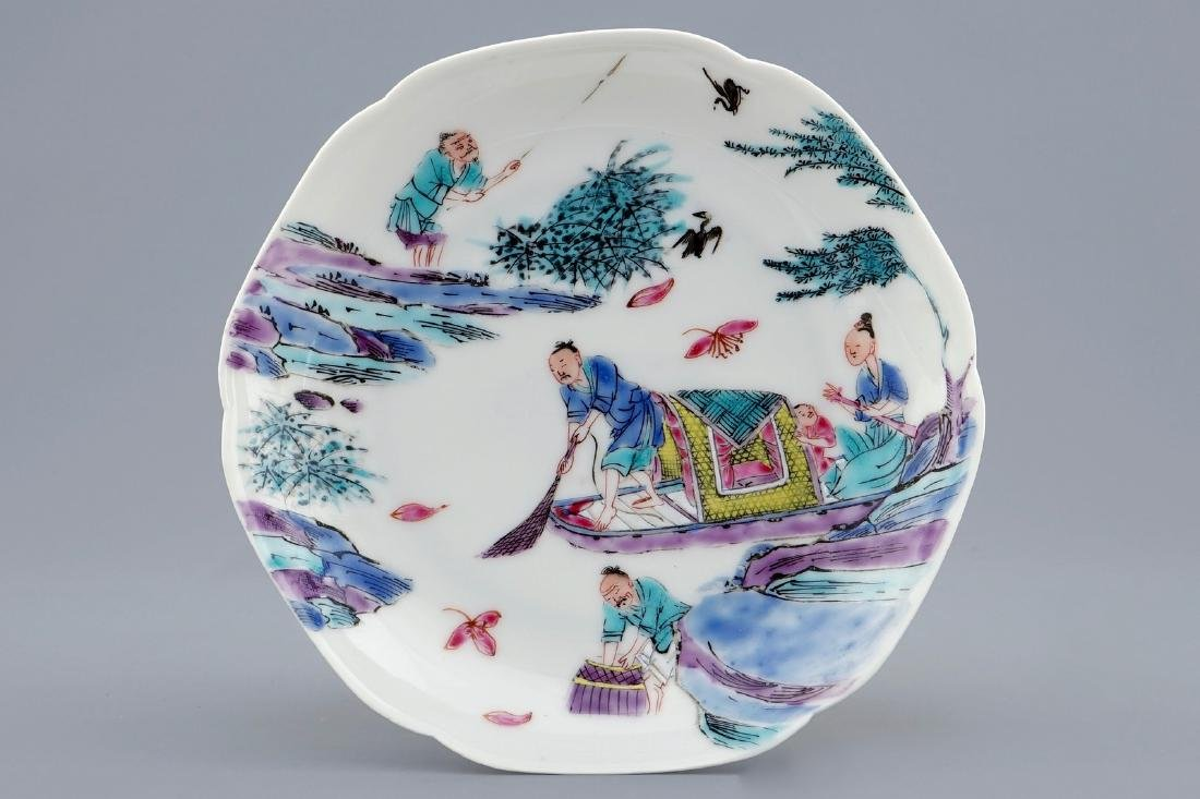 A Chinese famille rose cup and saucer with a fishing - 2