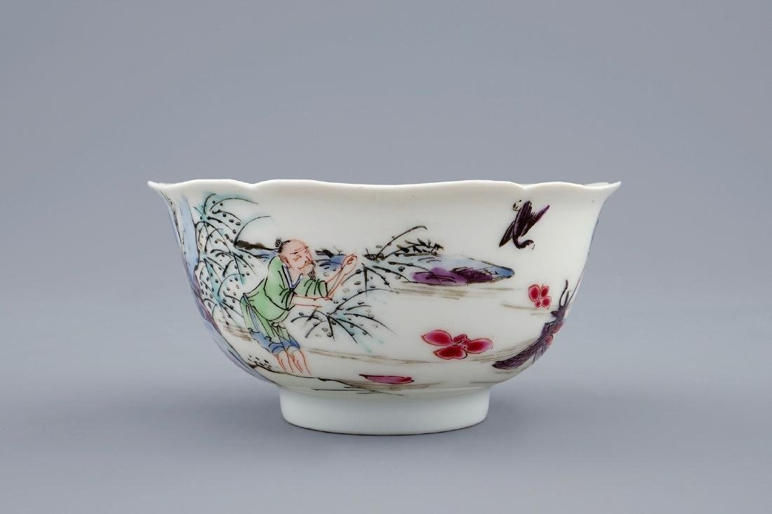 A Chinese famille rose cup and saucer with a fishing - 4