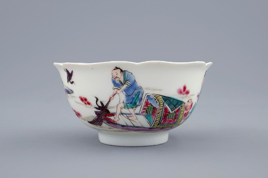 A Chinese famille rose cup and saucer with a fishing - 5