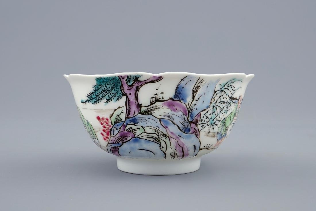 A Chinese famille rose cup and saucer with a fishing - 7